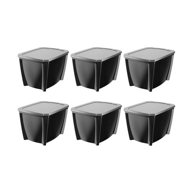 6 x T20GBSIVL Life Story 20-Gallon Stackable Storage Container, Black (6 Pack)