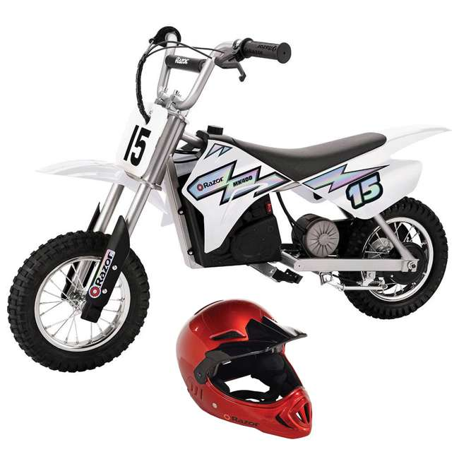15128008 + 97880 Razor MX400 Dirt Rocket 24V Electric Motocross Motorcycle Dirt Bike & Helmet