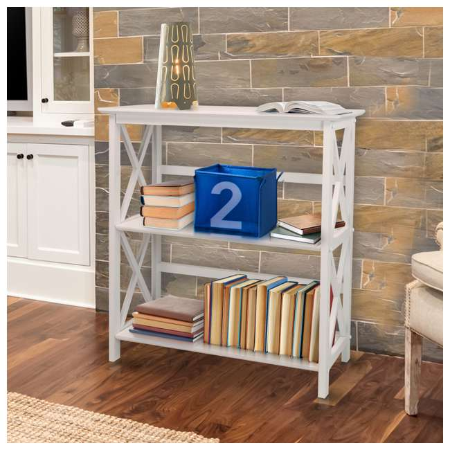 324-31 Casual Home Montego 3 Shelf X Design Folding Stackable Wood Bookcase, White  5