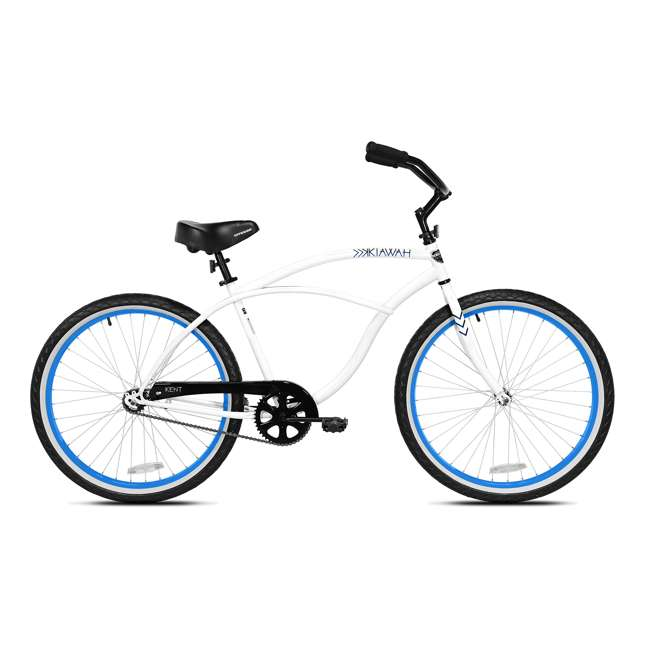 82646 Kent International 26 Inch Back Wheel Mens Kiawah Cruiser Street Bicycle, White
