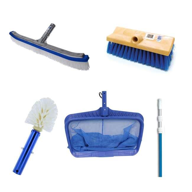 B3518 + B3525 + B3012 + 8356M + 8040 Blue Devil Poly Brush, Corner, Step Brush, Deck and Acid Brush, Pole, Leaf Rake