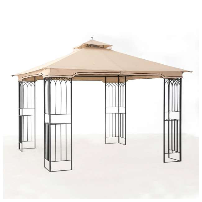 110101009 Sunjoy 10 x 10 Foot Backyard Outdoor Fence AIM Gazebo Canopy, Beige