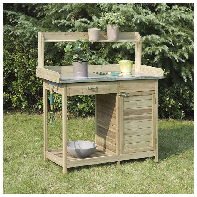 V10-460 Convenience Concepts V10-460 Deluxe Wooden Potting Bench with Cabinet, Brown 2