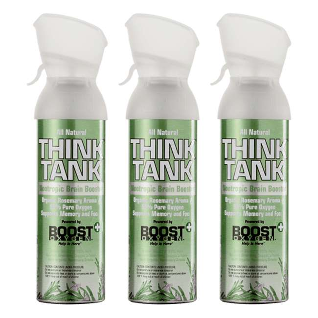 Think x 3 Boost Oxygen Think Tank All Natural Rosemary Aroma Inhalable Nootropic (3 Pack)