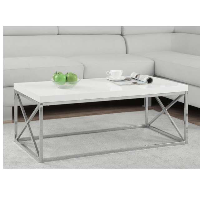 VM-3028-U-A Monarch Glossy White Metal Contemporary Design Coffee Table (Open Box) (2 Pack) 1