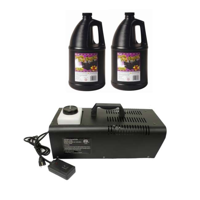61068 + 2 x 61070 Halloween 1000 W Fog Machine & Remote with 2) Juice Fluid (Pair)