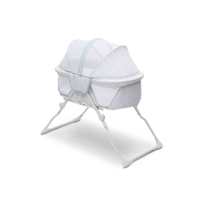 25402-2297 Delta Children EZ Fold Ultra Compact Travel Bassinet Baby Crib, Mirage White