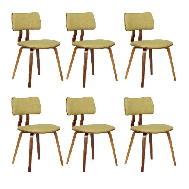 6 x LCJASIWAGREEN Armen Living Jaguar Mid Century Dining Chair in Walnut and Green Fabric (6 Pack)