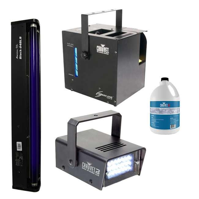 HURRICANE-HAZE2D+FJU+ MINISTROBE-LED + BLACK-24BLB CHAUVET Fog Machine w/ Mini Strobe Light Effect, Black Light & Fog Fluid