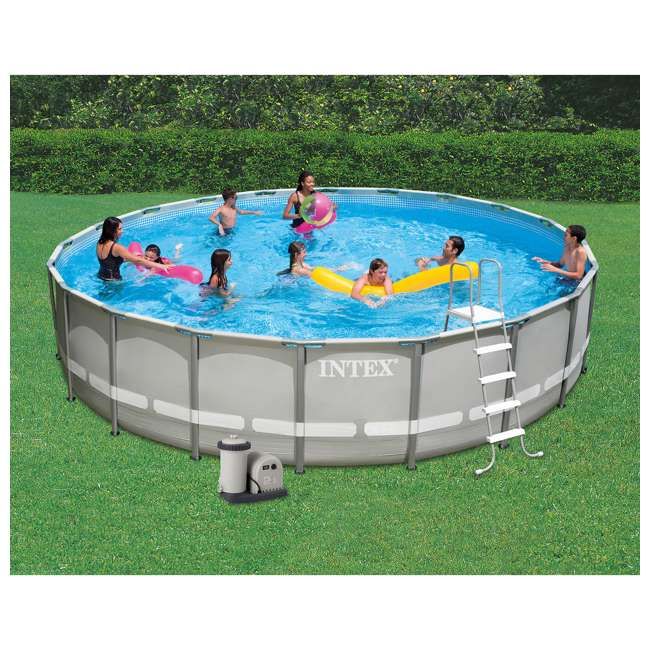 28337EH + QLC-42005 Intex Ultra Frame Swimming Pool Set + Qualco Pool Chemical Maintenance Kit 2