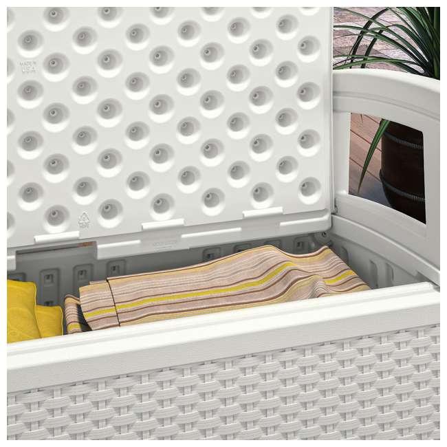 BMDB3010W + BMWB5000W + 2 x BMCC1800W Suncast Patio Coffee Table, Loveseat w/ Storage, Club Chair w/ Storage (2 Pack) 9