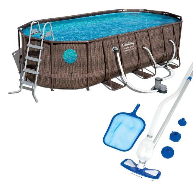 56717E-BW + 58234E-BW Bestway Power Swim Vista 18 x 9 x 4 Foot Pool Set with Pump & Maintenance Kit