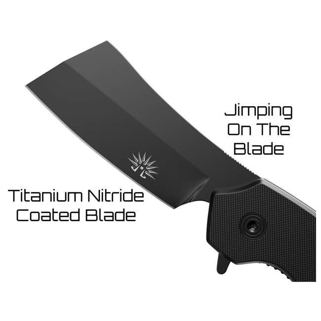 X001Z3DTPZ - 7777891271 OG-950XB Off-Grid Blackout Compact 7777891271 Folding Tini Coated Cleaver Knife, Black 3