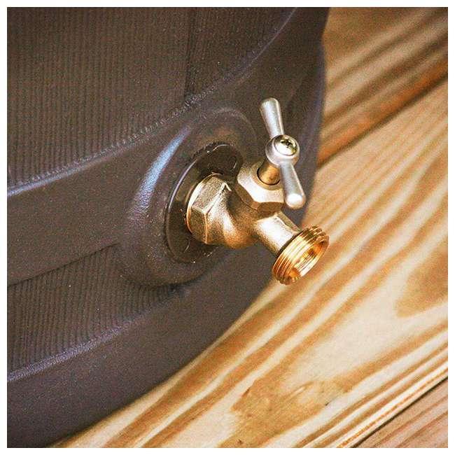 5 x RW50-OAK Good Ideas Rain Wizard 50 Gallon Plastic Rain Barrel with Brass Spigot (5 Pack) 6