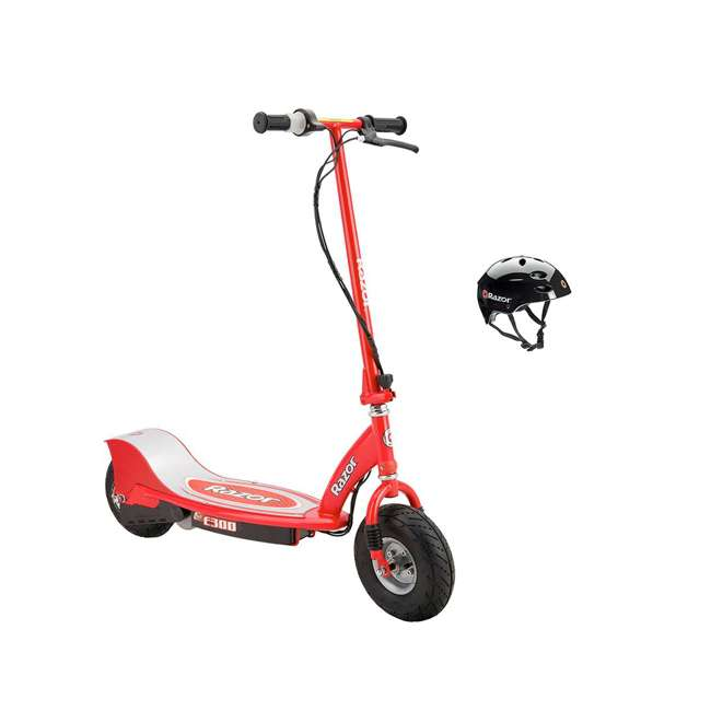 13113697 + 97778 Razor E300 Electric Red Scooter And Razor V17 Youth Helmet