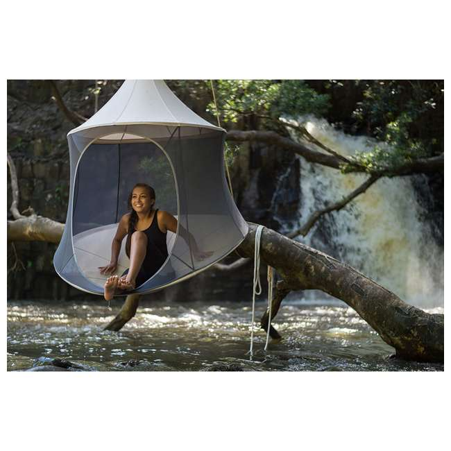 TP1500SB + TP9150 TreePod Cabana 5-Foot Hanging Mesh Daybed with Canopy, Slate Blue w/Bug Net 2