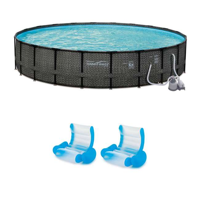 """P4A024521167 + 2 x K71071000167 Summer Waves 24' x 52"""" Pool Set + Inflatable Rocking Chair Lounges (2 Pack)"""
