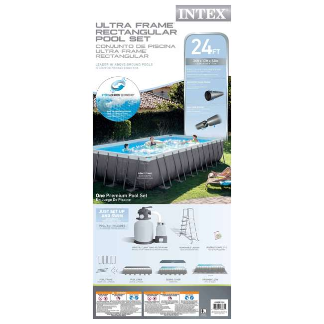 "26361EH Intex 24' x 12' x 52"" Ultra Frame Swimming Pool Set 5"