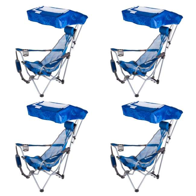 4 x 80162-SW Kelsyus Backpack Beach Folding Lawn Chair with Canopy, Blue  (4 Pack)