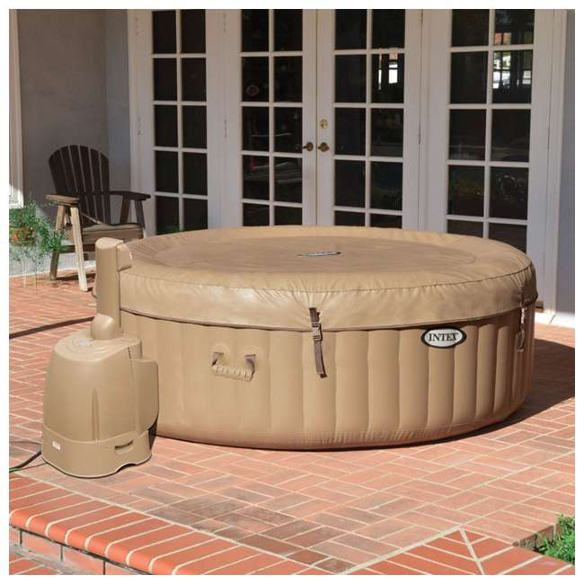28403E + 28501E + 28523E Intex PureSpa 77 Inch 4 Person Inflatable Hot Tub Spa with Headrest & Cover 3