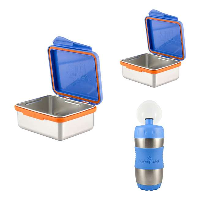 894148002794 + 894148002916 + 894148002091 Kid Basix 23 Ounce, 13 Ounce Stainless Steel Lunch Box and 12 Ounce Water Bottle