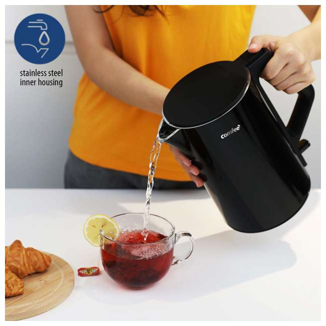 MK-15H01A1B Comfee' Stainless Steel Double Wall Cool Touch Cordless Electric Kettle, Black 5