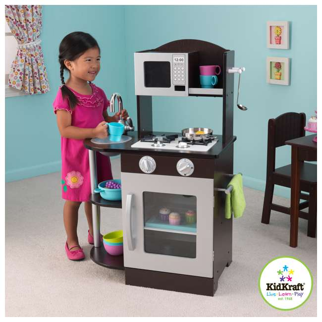 KidKraft Modern Espresso & Silver Toddler Kitchen Kids
