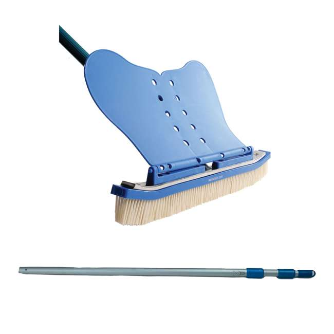 WW18Res + 29054E Wall Whale Classic 18 Inch Pool Wall Cleaning Brush + 94 Inch Telescoping Pole