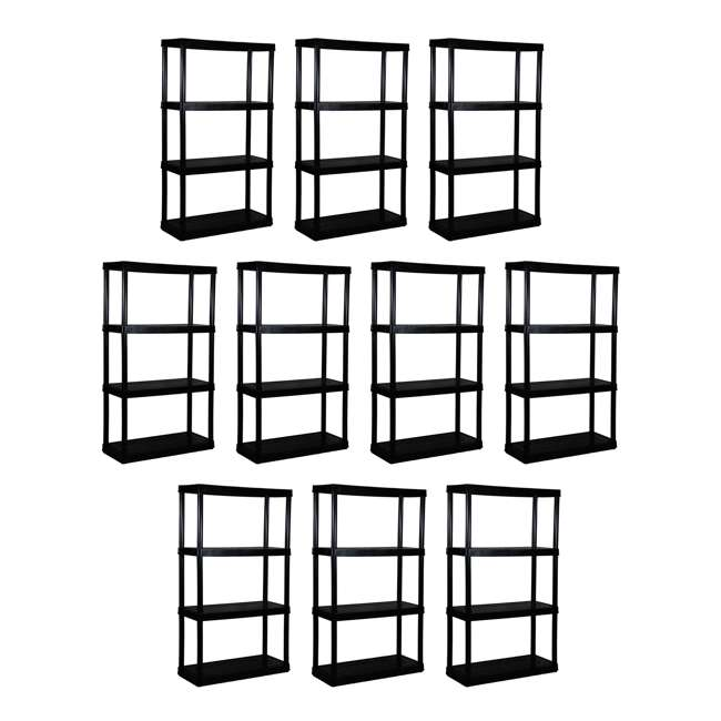 10 x GL91021MAXIT-1C-36 Gracious Living 4-Tier Resin Garage Storage Shelf, Black (10 Pack)