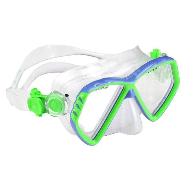 240370-US U.S. Divers Regal Junior Kids Swimming Mask and Dry Top Snorkel, Blue & Green 1