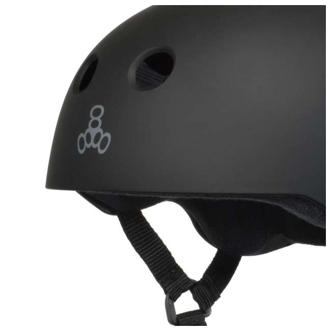 T8-1351-U-B Triple 8 Hardened Skate Helmet w/ Sweatsaver Liner, Black Rubber - Small (Used) 1