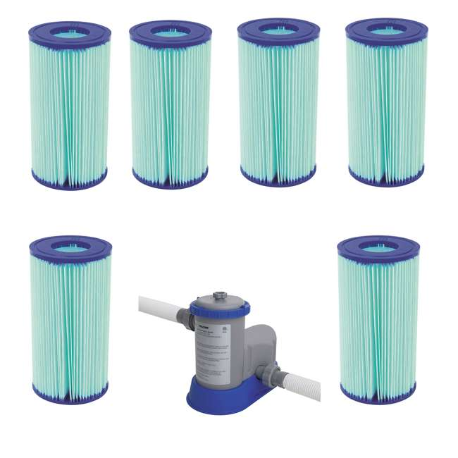 6 x 58476E-BW + 58390E-BW Bestway AntiMicrobial Type III Pool Filter Cartridge (6) w/1500 GPH Filter Pump