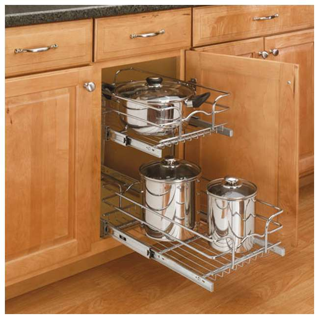 """5WB2-1222-CR Rev-A-Shelf 12"""" Wide 22"""" Deep Base Kitchen Cabinet 2 Tier Pull Out Wire Basket 8"""