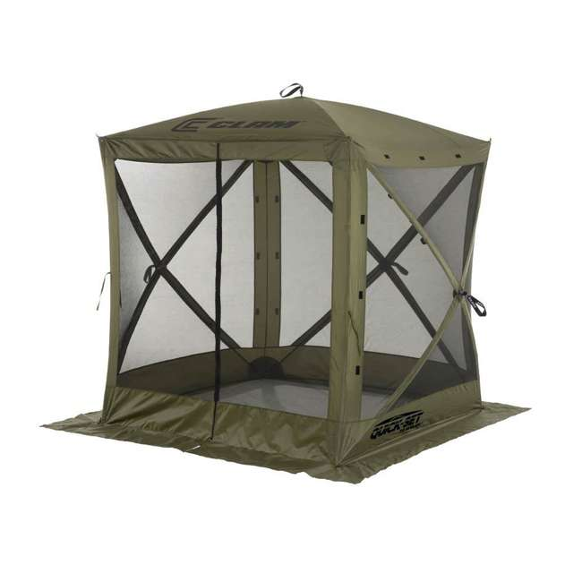 CLAM-TV-9870 + 2 x CLAM-WP-2PK-9896 Clam Quick-Set Traveler Shelter w/Wind Panels (4 Pack), Green 3