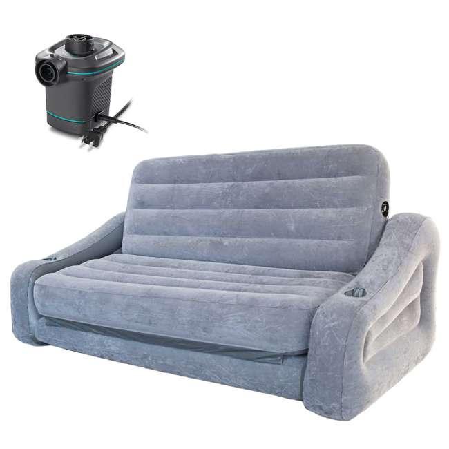 68566VM + 66639E Intex Queen Inflatable Pull Out Sofa w/ Electric Air Pump 4