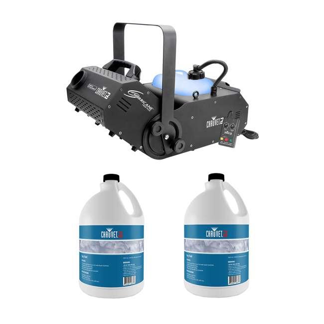 H1800FLEX + 2 x FJU Chauvet H1800FLEX Hurricane Fog/Smoke Pro Machine + Fog Juice Fluid (2 Gallons)
