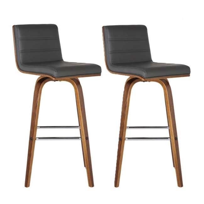 LCVIBAGRWA30 Armen Living Vienna 30 Inch Barstool in Walnut Finish & Gray Upholstery (2 Pack)