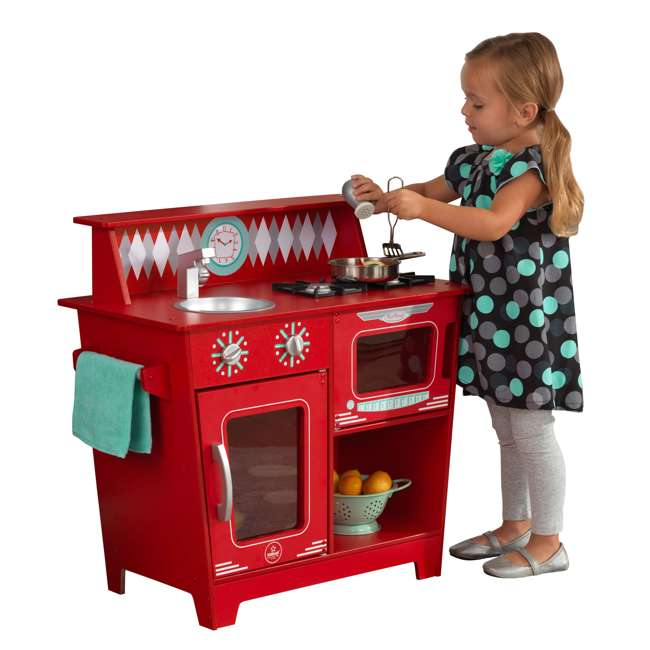 KDK-53362 KidKraft Classic Pretend Play Kitchenette Set, Red 3