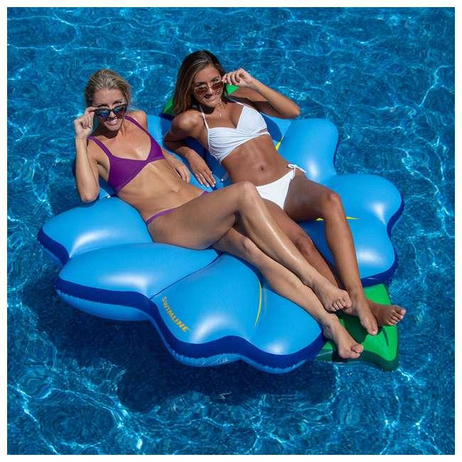 "3 x SL-90560M Swimline 75"" Inflatable Primrose Flower Relaxation Lounge Float, Blue (3 Pack) 4"