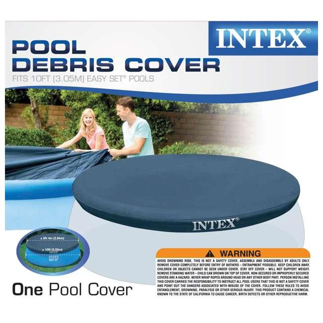 28021E-U-A Intex 10' Easy Set Swimming Pool Debris Vinyl Cover Tarp (Open Box) (2 Pack) 4