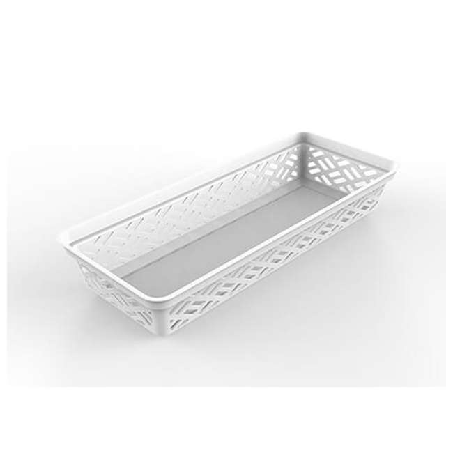 FBA32135 Ezy 32135 Long Brickor Plastic Storage Household Organization Basket, White 1