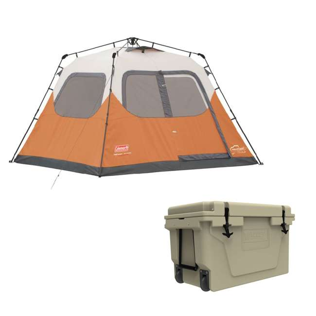 2000017933 + 2A-CM005T Coleman Outdoor 6 Person Camping Tent and Uriah Products Cooler