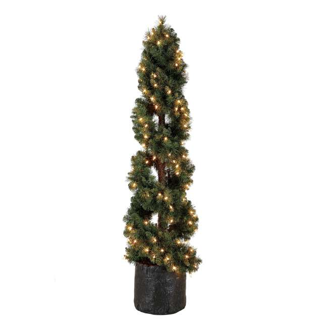 TS50M3K08C01 Home Heritage 5 Foot Spiral Design Artificial Topiary Pine Tree w/ Clear Lights