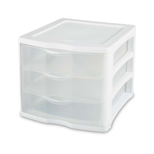 5 x 17918004 Sterilite ClearView Compact Portable 3 Storage Drawer Organizer Cabinet (5 Pack) 2