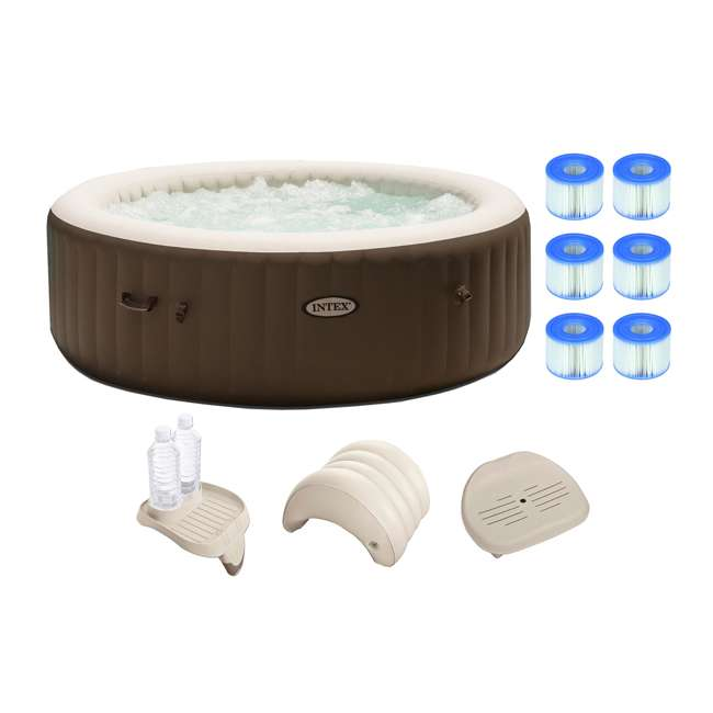 intex purespa 6 person hot tub with filters and accessories 28407vm 3 x 29001e 28500e. Black Bedroom Furniture Sets. Home Design Ideas
