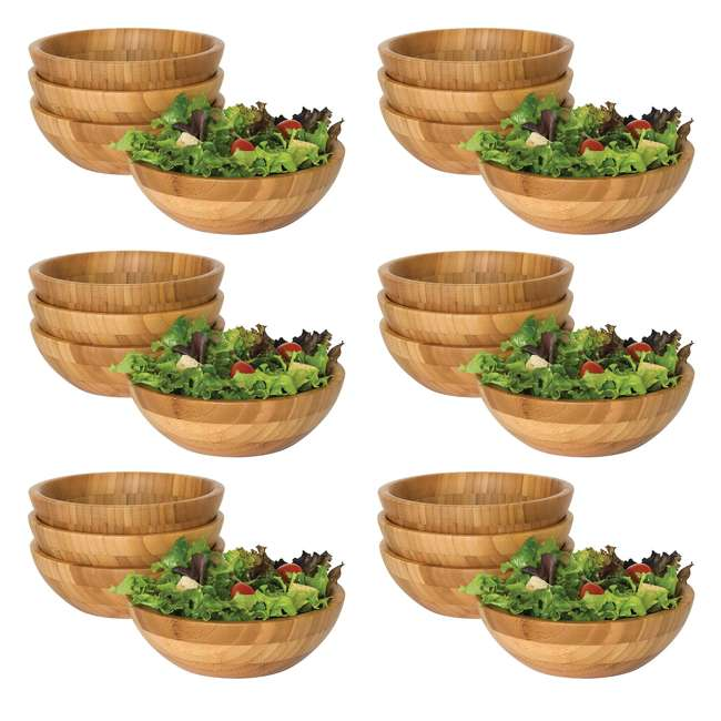 6 x LP-8203-4pack Lipper International Bamboo Small Salad Bowls (24 Pack)