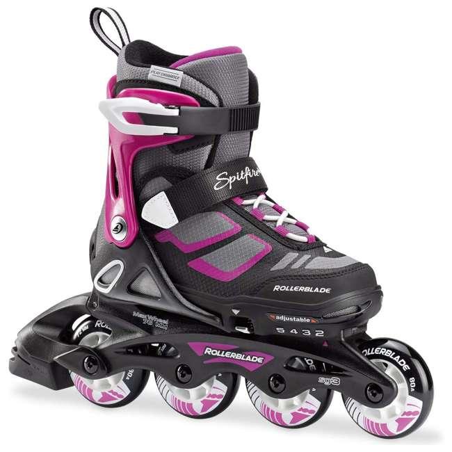 17849100N41-2-5 Rollerblade Spitfire XT Girls Adjustable Kids Inline Skates, Black and Pink