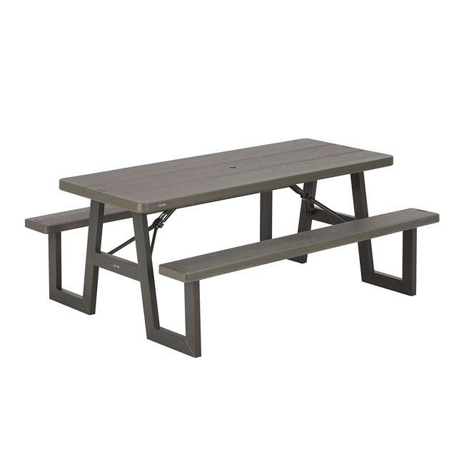 LIF-60233 Lifetime 60233 6-Foot W-Frame Outdoor Folding Picnic Table, Brown