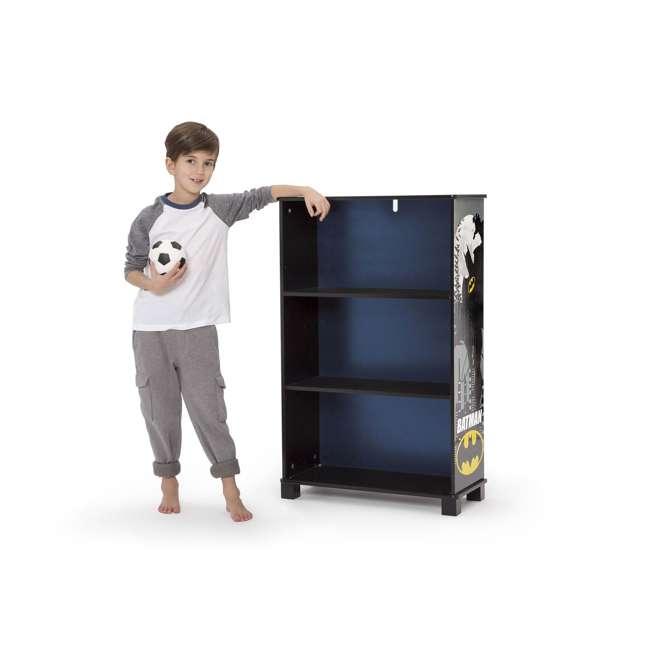 FL86731BT-1200 Delta Children Kids DC Superhero Batman Wooden 3 Shelf Bookshelf Bookcase, Black 1