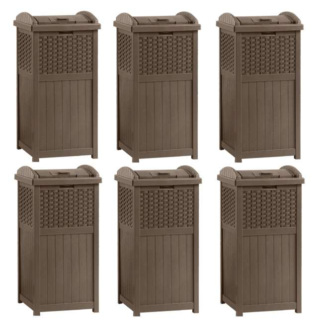 6 x GHW1732 Suncast Trash Hideaway 33 Gallon Resin Wicker Outdoor Garbage Container (6 Pack)